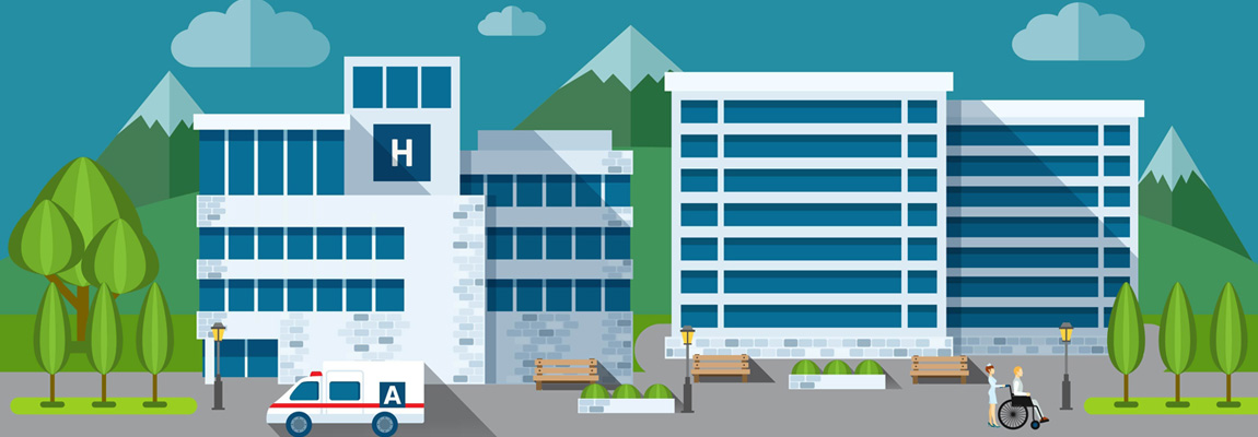 Hospital Building and Ambulance